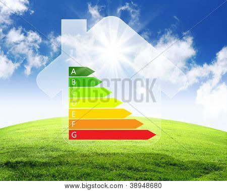 Image of a colourful house against nature background