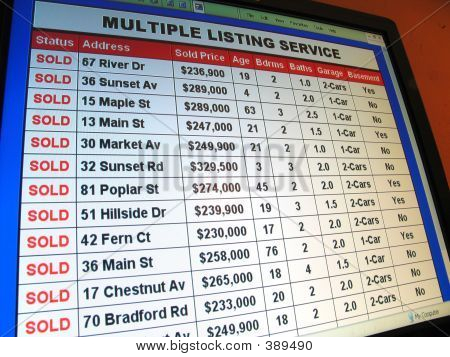 Real Estate Sold Property List on Computer Screen