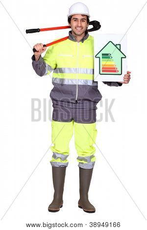 Laborer holding energy rating sign
