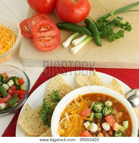 Hot Spicy Chili With Fresh Veggies