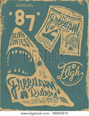 illustration summer shark beach sketch for apparel