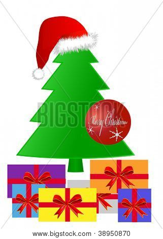 Gifts under a Christmas tree, eps 10 vector