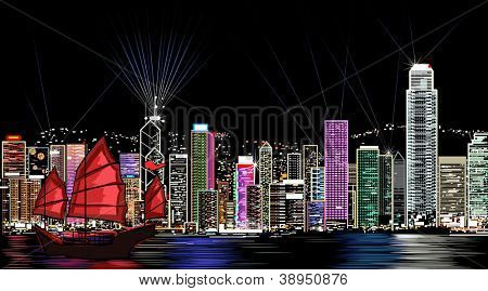 Vector illustration of Honk Kong by night