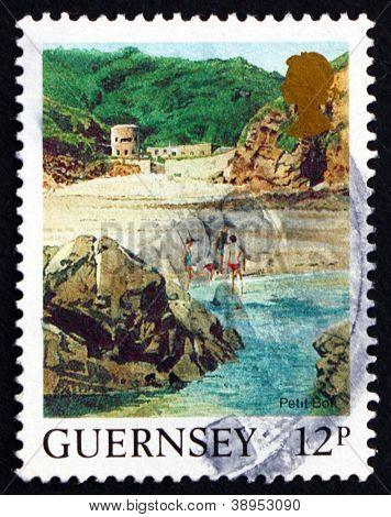 Postage stamp Guernsey 1988 Petit Bot Beach, Landscape