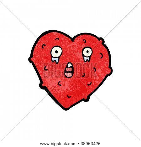 unhealthy heart cartoon character