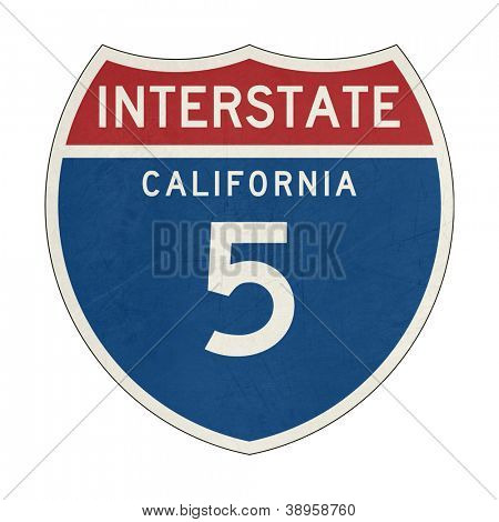 Grunge American California Interstate Highway number 5 sign or shield; isolated on white background.