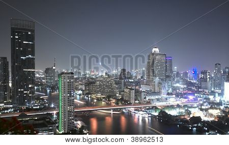Night view of Bangkok from the Chao Praya river