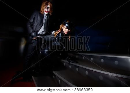 portrait of couple with exotic make-up