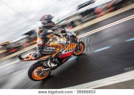 CHESTE - NOVEMBER 9: Marc Marquez during MOTOGP of the Comunitat Valenciana, on November 9, 2012, in Ricardo Tormo Circuit of Cheste, Valencia, Spain