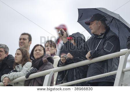 CHESTE - NOVEMBER 9: Supporters during MOTOGP of the Comunitat Valenciana, on November 9, 2012, in Ricardo Tormo Circuit of Cheste, Valencia, Spain