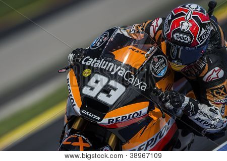 CHESTE - NOVEMBER 10: Marc Marquez during GP of the Comunitat Valenciana, on November 10, 2012, in Ricardo Tormo Circuit of Cheste, Valencia, Spain