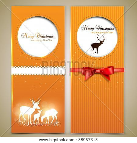 Collection of gift cards and invitations with deers. Vector background