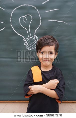 Asian little boy with chalkboard