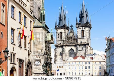 Tynsky church at Old Town Square, Prague, Czech Republic