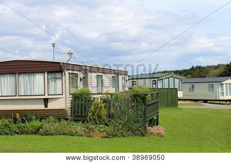 Scenic view of modern trailers in caravan park, Cayton Bay, Scarborough, England.