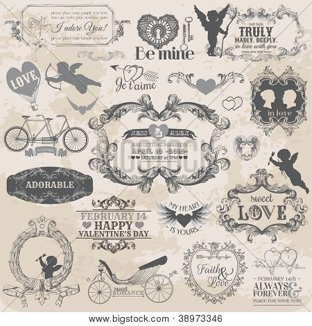 Scrapbook Design Elements - Vintage Valentine's Love Set - for design, scrapbook - in vector