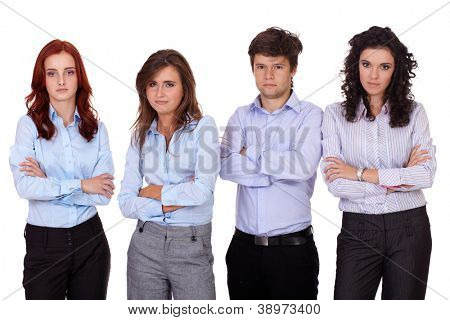 Group of young business people standing with folded hands, isolated on white