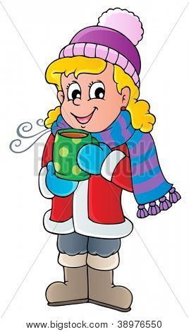 Winter person cartoon image 1 - vector illustration.