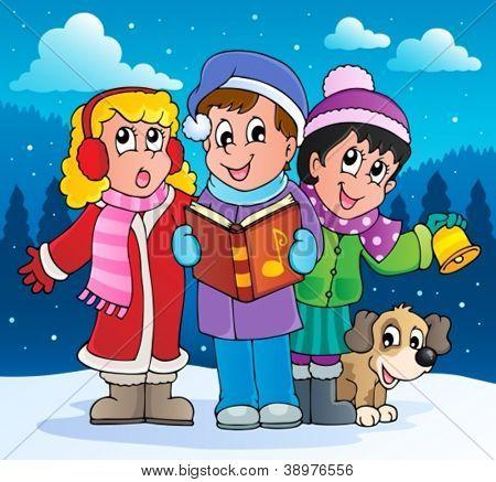 Christmas carol singers theme 2 - vector illustration.