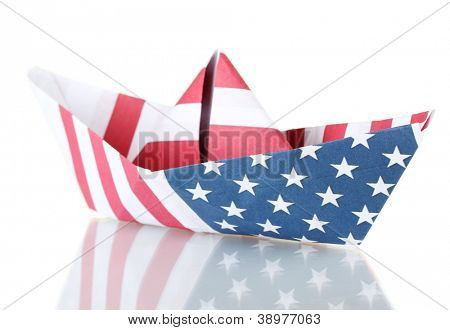 ship of the American flag, isolated on white. Columbus Day.