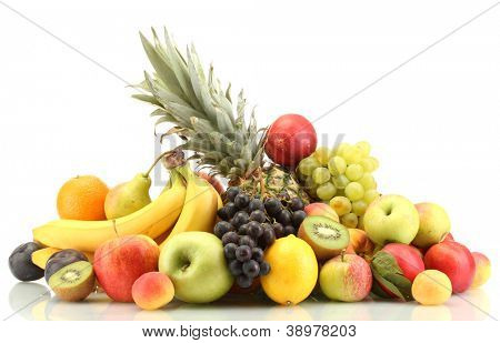 Assortment of exotic fruits isolated on white