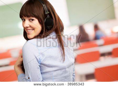 Happy Woman Wearing Headphone, Indoor