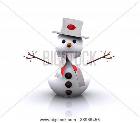 Muñeco de nieve japonés - 3D