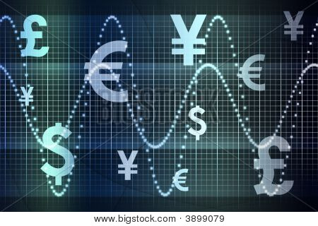 Glowing Global Currency Business Abstract Background