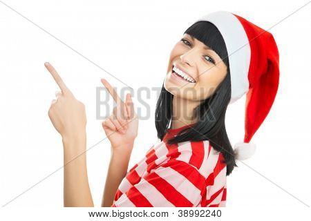 Santa girl wearing Christmas Chat and shows a white space