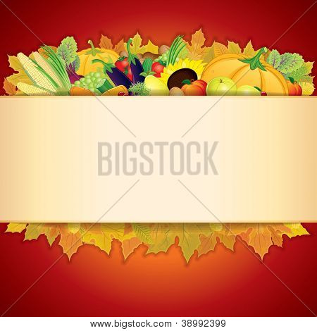 Thanksgiving Celebration illustration. Banner with Vegetable Crop, Maple Leaf and Space for Text