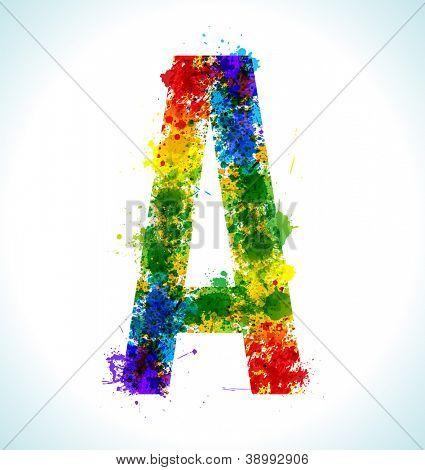 Color paint splashes. Gradient vector font. Letter A
