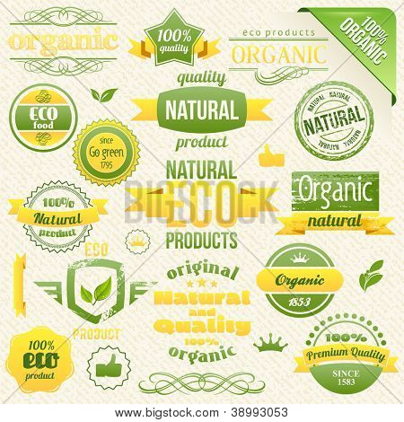 Vector Organic Food, Eco, Bio Labels and Elements.