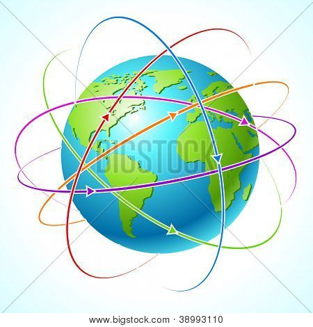 Globe with orbits. Vector map illustration. Clean illustration.