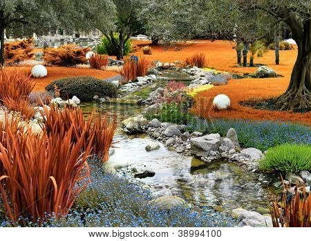 autumnal japanese garden with pond