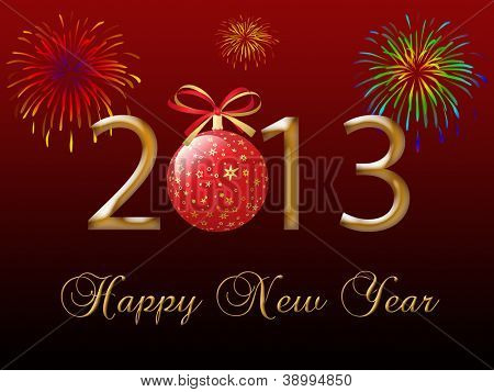 2013 Happy New Year greeting card on the red-dark background