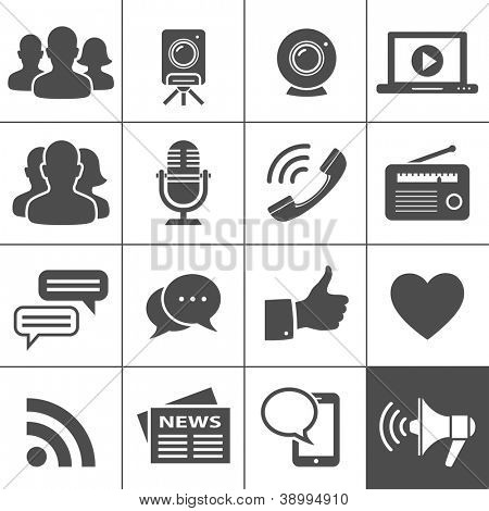 Media & Social Network Icons. Simplus series. Each icon is a single object (compound path)