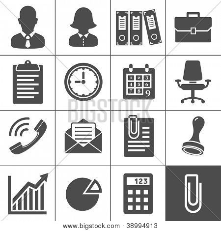 Office Icons. Simplus series. Each icon is a single object (compound path)