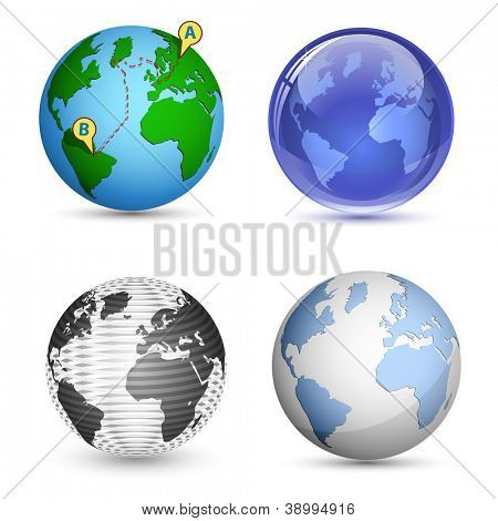 4 Globe-Ikonen. Planet, Erde, Globus-Icon-Set. Vektor-illustration