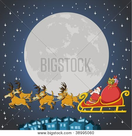 Santa Claus on sleigh with reindeer flying on christmas night with big moon