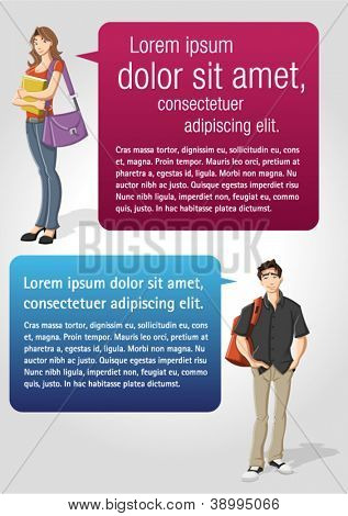 Colorful template for advertising brochure with teenager student and speech balloons