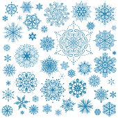 stock photo of ice crystal  - Snowflakes Christmas vector icons - JPG