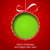 picture of paper cut out  - Abstract green Christmas ball cutted from paper on red background - JPG