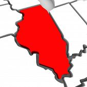 A red abstract state map of Illinois, a 3D render symbolizing targeting the state to find its outlin