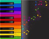 colorful piano keyboard with musical notes on a black background