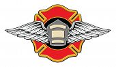stock photo of maltese-cross  - Illustration of a firefighters badge or shield with wings on a firefighters cross with space for your text - JPG