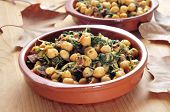 spanish espinacas con garbanzos, spinach with chickpeas, served as tapas