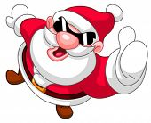 High angle view of Santa Claus in sunglasses showing thumb up