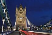 picture of london night  - Light trails on Tower Bridge London UK - JPG