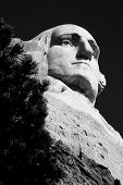 picture of mount rushmore national memorial  - the head of George Washington on Mount Rushmore National Memorial in black and white - JPG