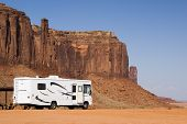 pic of recreational vehicles  - A recreational vehicle camping in Monument Valley - JPG